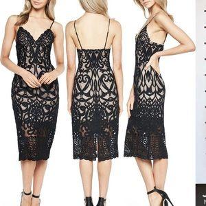 NWT Bardot Embroidered Black Lace Dress